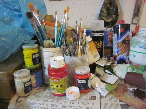 atrezzi per artista colori ad olio